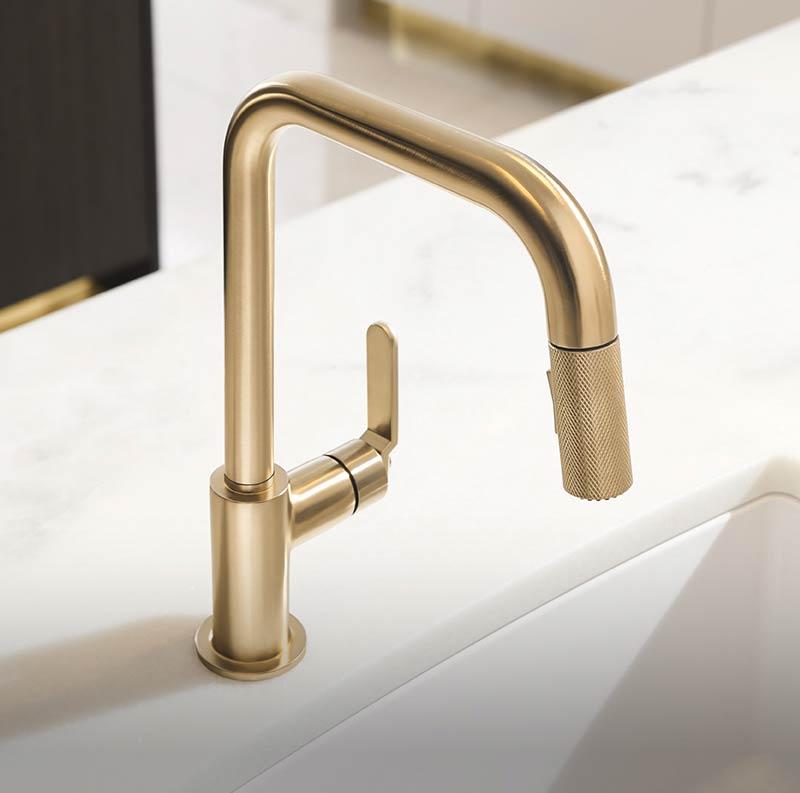 Best Philadelphia interior designer Glenna Stone Brizo Litze gold faucet