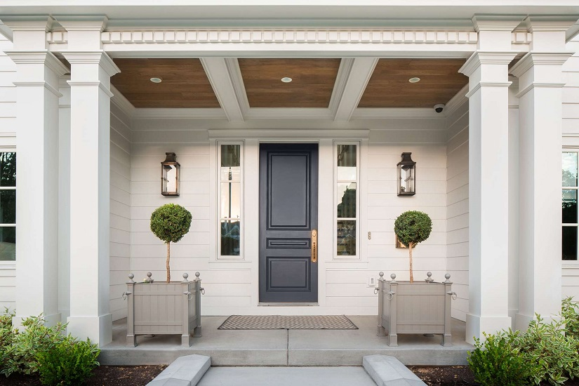 Best Philadelphia interior designer Glenna Stone front door with sidelights Fox Group Construction