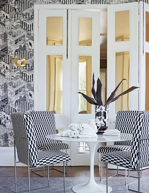 Philadelphia Interior Designer Glenna Stone Black And White Fabrics Cole U0026  Son Tile Jaquard Chairs